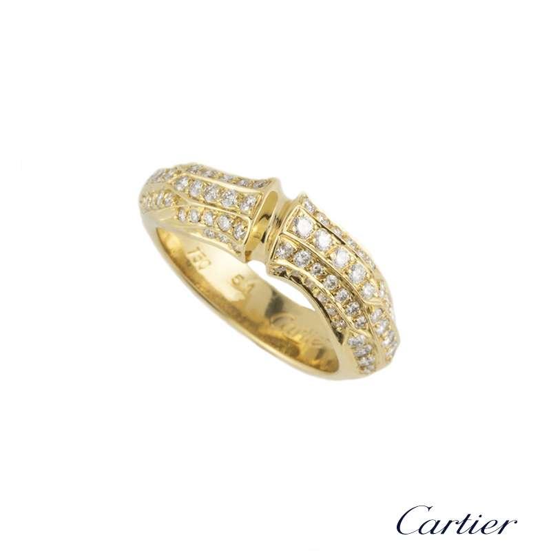 Cartier 18k Yellow Gold Diamond Set Bamboo Ring